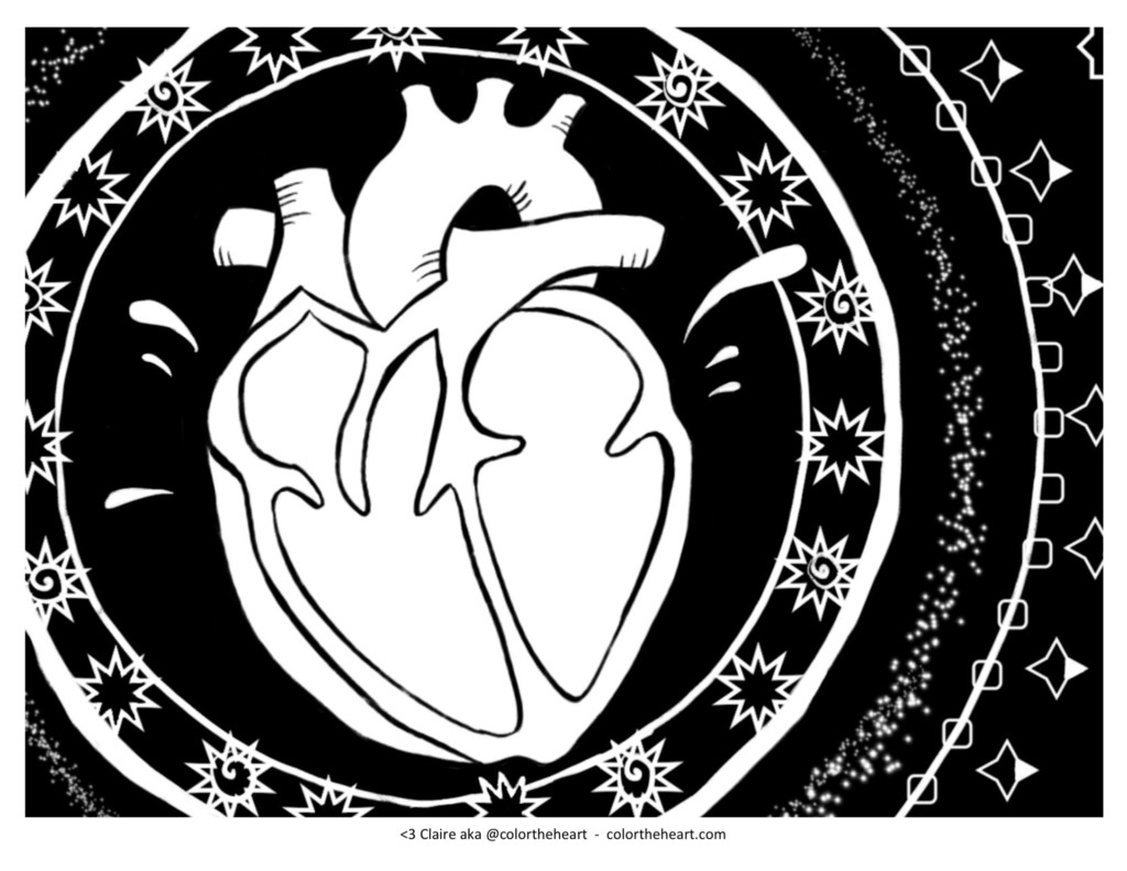 White anatomical heart with black background of geometric circles