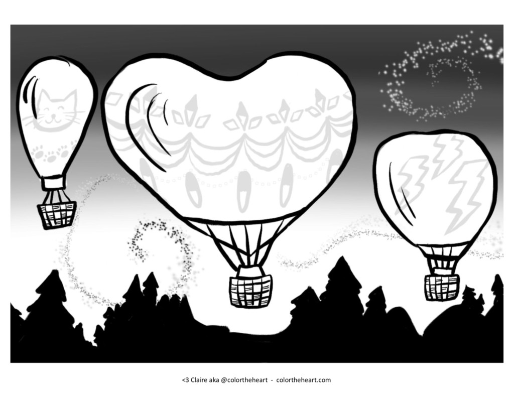 Drawing of three hot air balloons flying above a forest at night. The middle balloon is shaped like a heart.
